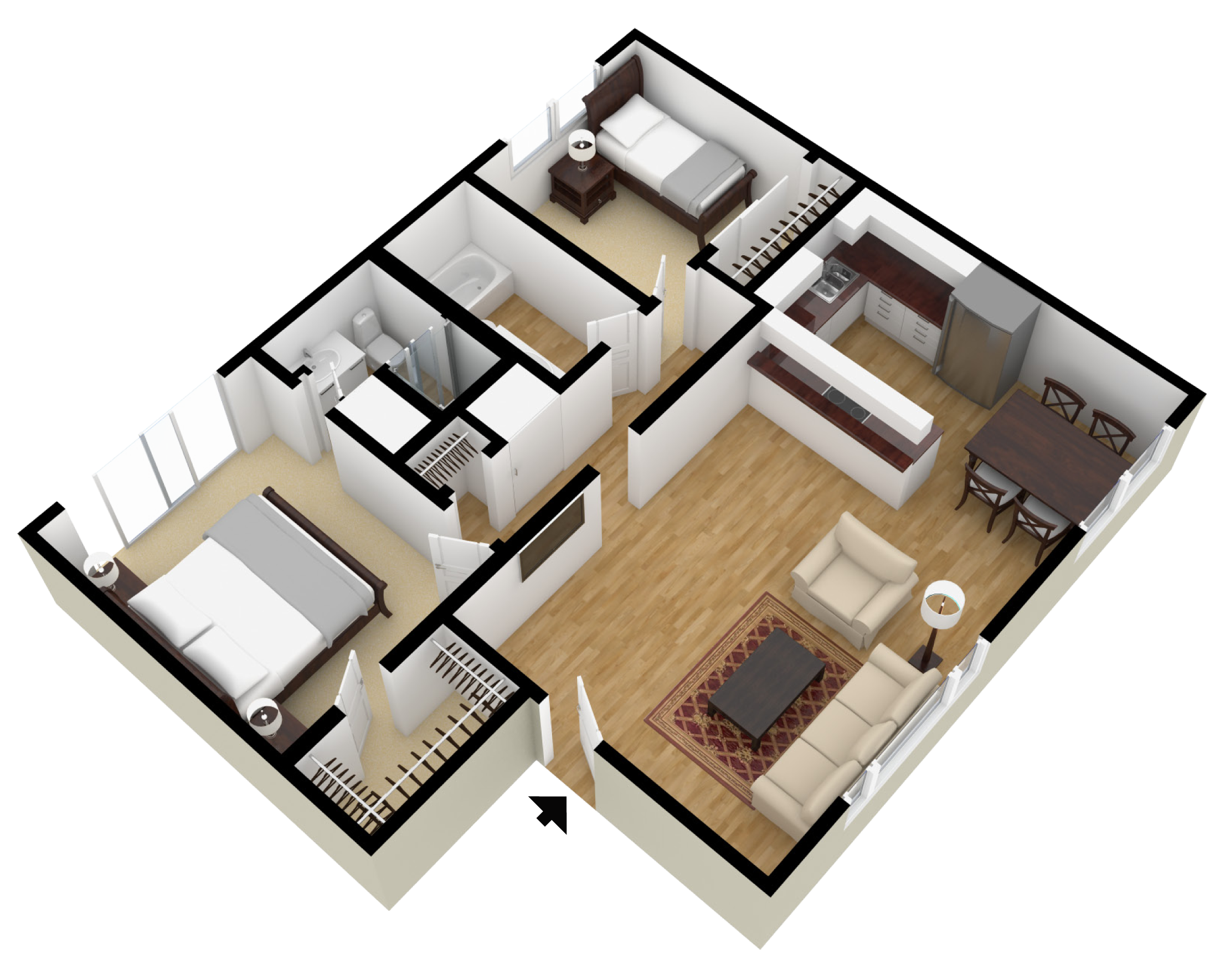 Studio 1 2 bedroom floor plans city plaza apartments for 3 bedroom ensuite house plans