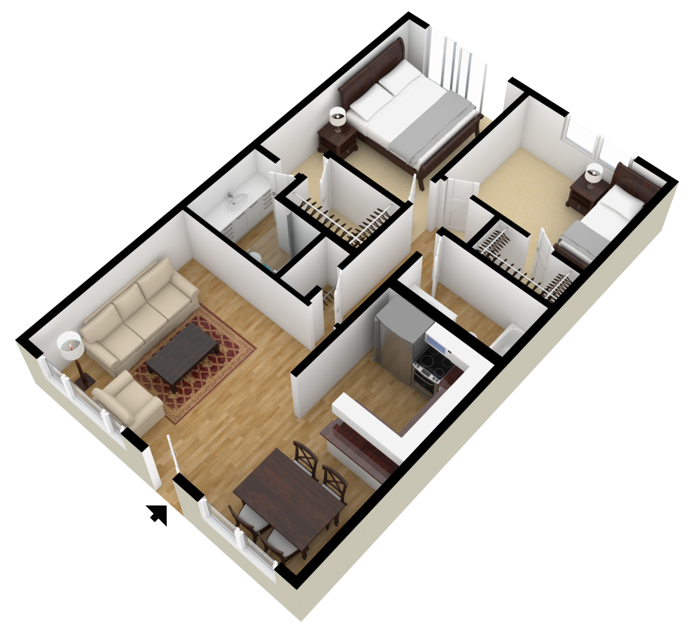 Studio, 1 & 2 Bedroom Floor Plans