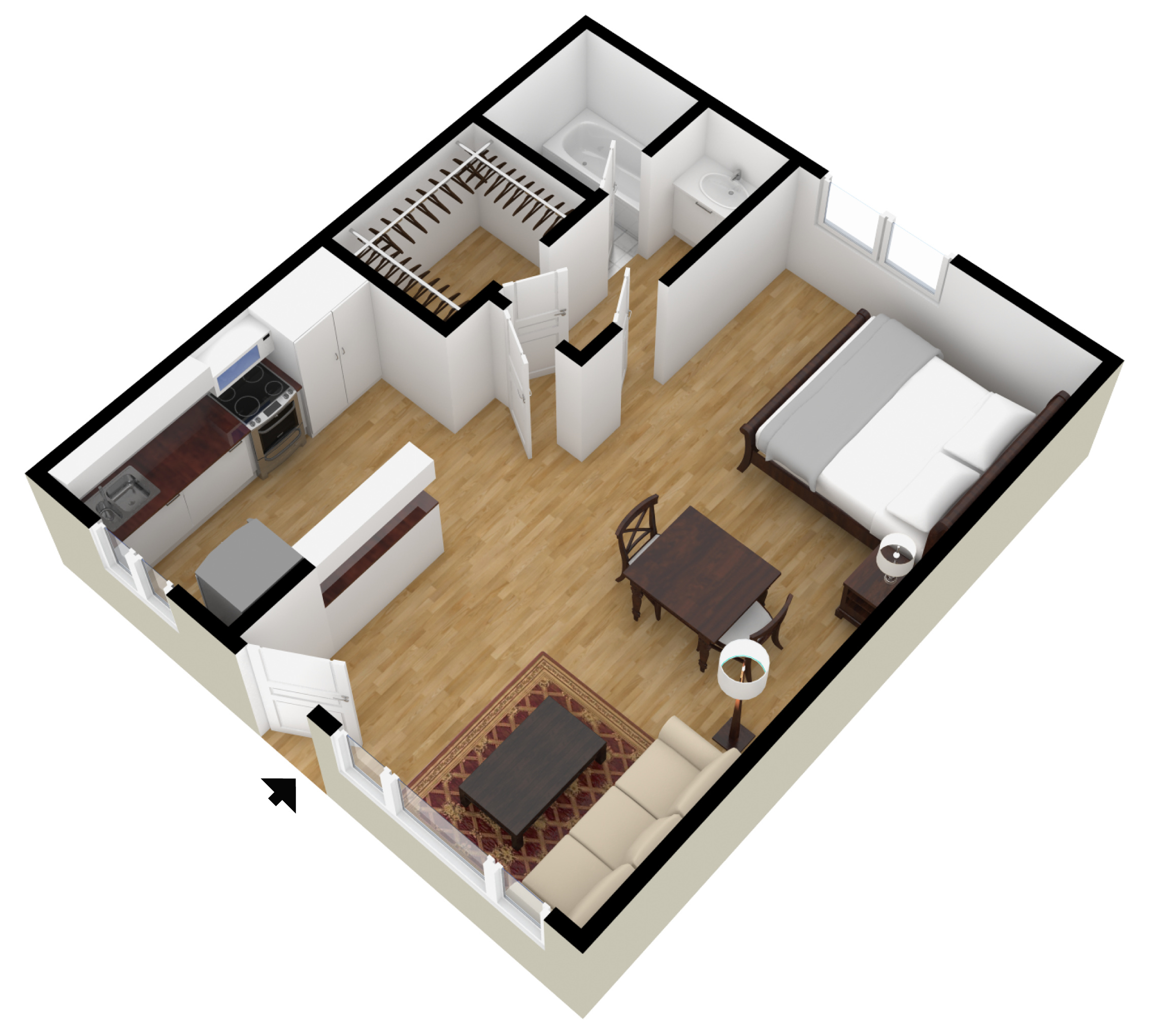 Studio 1 2 bedroom floor plans city plaza apartments for 2 bedroom studio apartment plans