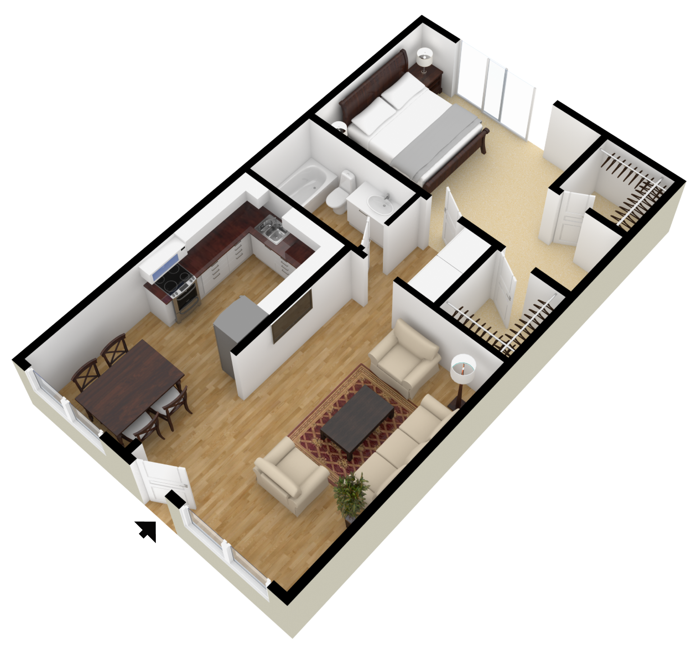 Studio 1 2 bedroom floor plans city plaza apartments for Studio apartment blueprints
